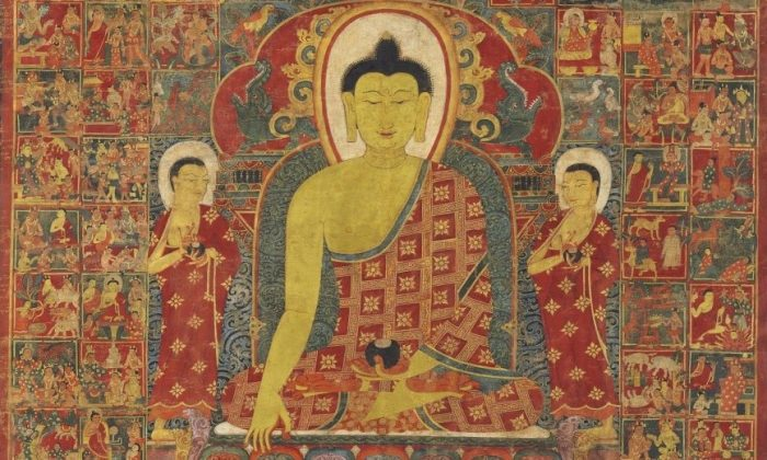 "A thangka, or Buddhist painting, of ""Buddha with the One Hundred Jataka Tales,"" Tibet, 13th-14th century, 114.3 x 84.4 cm. The Jataka tales are stories telling of the previous lives of the Buddha, A thangka, or Buddhist painting, of ""Buddha with the One Hundred Jataka Tales,"" 13th-14th century, Tibet. The Jataka tales are stories telling of the previous lives of the Buddha, either in human or animal birth, each revealing some lesson or virtue. Christie's Auction House. (Public Domain)"