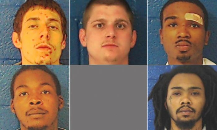 The inmates, clockwise from bottom left, are Raheem Horne, David Viverette, David Ruffin Jr., Keonte Murphy and Laquaris Battle. (Nash County Sheriff's Office)