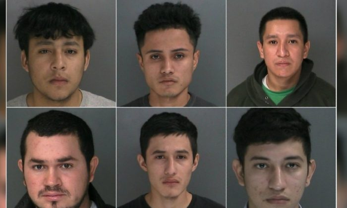 Six MS-13 gang members were indicted over February and March for allegedly conspiring to carry out murders, authorities said. (Suffolk County District Attorney's Office)