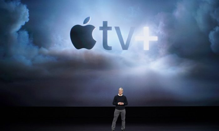 Apple CEO Tim Cook speaks at the Steve Jobs Theater during an event to announce new products in Cupertino, Calif., on March 25, 2019. (Tony Avelar/AP Photo)