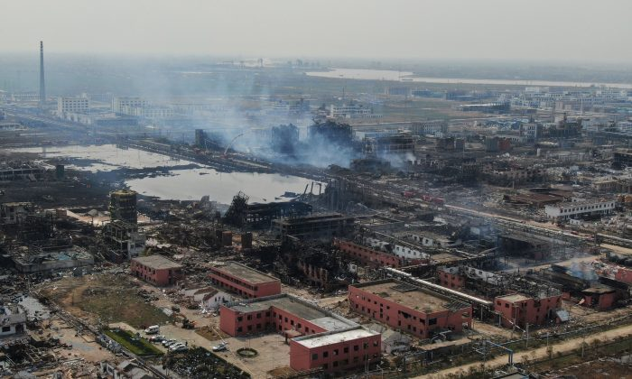 An aerial view shows damaged buildings after an explosion at a chemical plant in Yancheng in China's eastern Jiangsu province early on March 23, 2019. (STR/AFP/Getty Images)