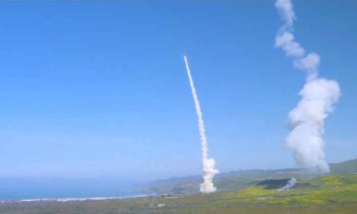 This image shows one of the intercepting projectiles careening toward its target of a test Intercontinental Ballistic Missile on March 25, 2019. (Missile Defense Agency)