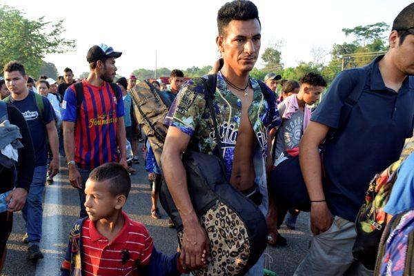 members of a migrant caravan