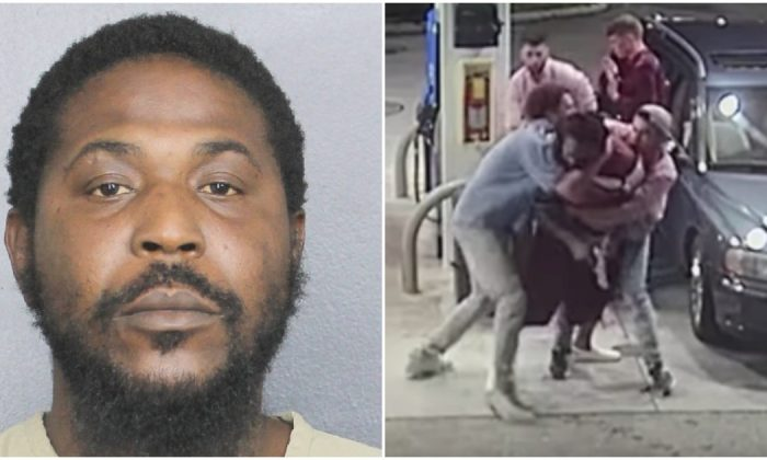 Kevin Campbell (L), who was charged over an attempted armed robbery that was thwarted when four cousins wrestled the gun off the robber (R), a different man, on March 24, in Florida. (Broward County Sheriff)