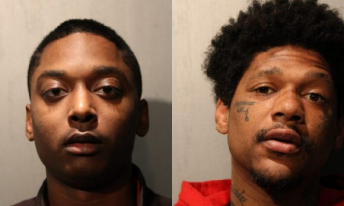 Menelik Jackson (L) and Jovan Battle were charged with first-degree murder in the shooting death of off-duty Chicago Police Officer John P. Rivera's death.(Chicago Police Department)