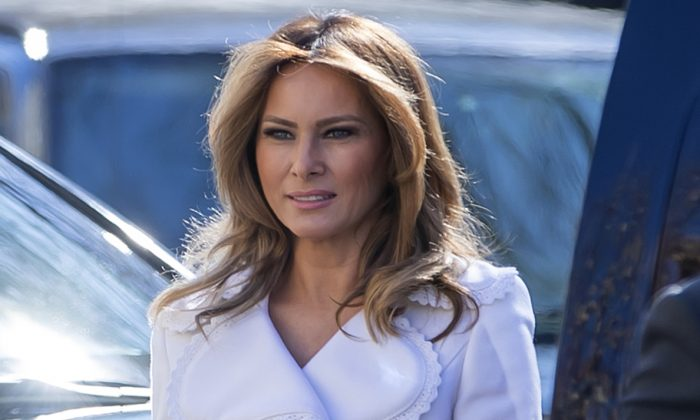 First lady Melania Trump arrives to attend services at St. John's Episcopal Church in Washington, on March 17, 2019. (Eric Lesser-Pool/Getty Images)