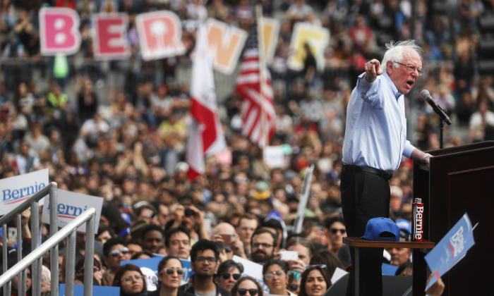 2020 Democratic presidential candidate Sen. Bernie Sanders (I-VT) speaks at a campaign rally in Grand Park on March 23, 2019 in Los Angeles, California. (Mario Tama/Getty Images)