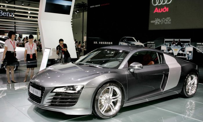 The Audi R8 is displayed an auto show in Chengdu, southwest China's Sichuan province on September 21, 2008. (STR/AFP/Getty Images)