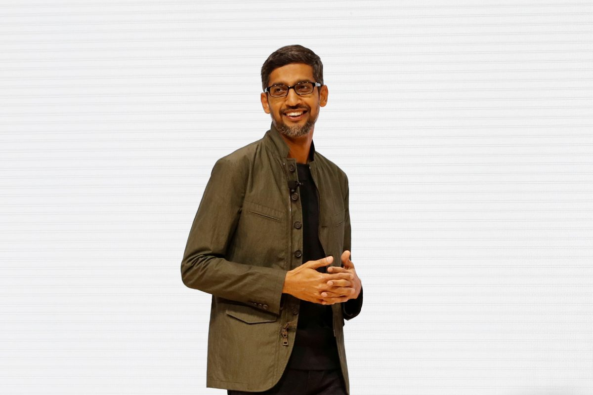 Google CEO Sundar Pichai speaks on stage