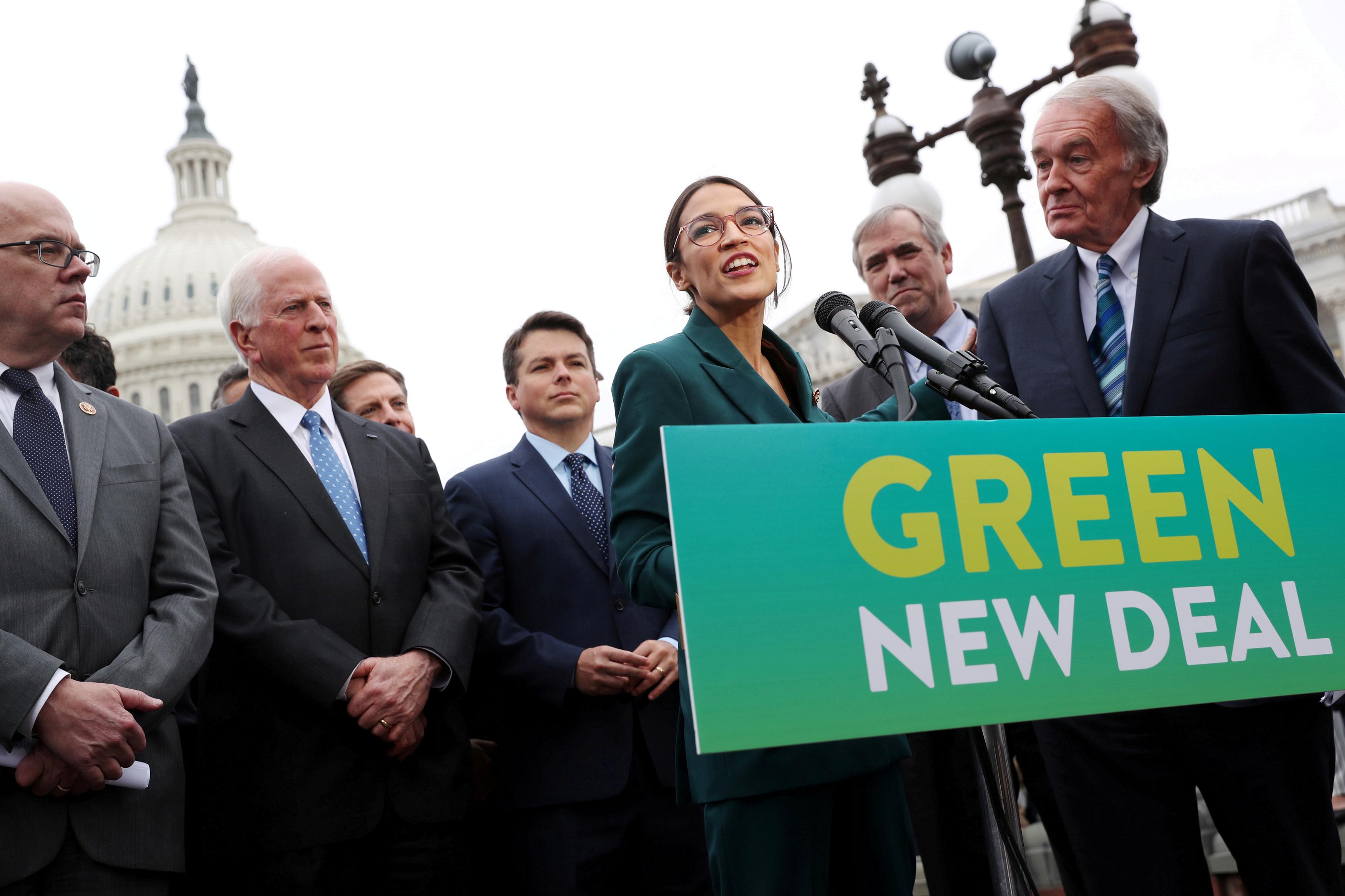 Rep. Alexandria Ocasio-Cortez (D-NY) and Senator Ed Markey, Green New Deal