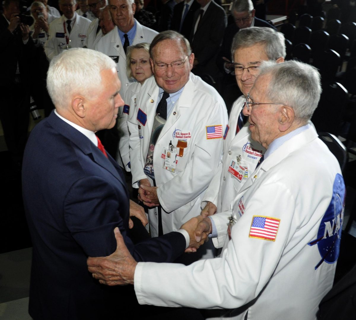 Mike Pence speaks with museum docents
