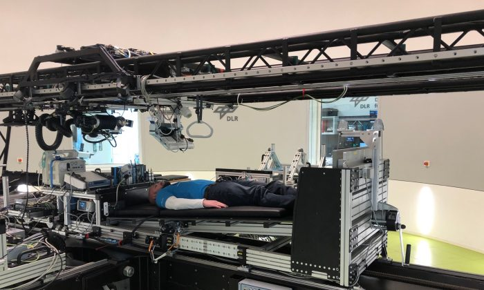The short-arm centrifuge at the German Aerospace Center's (DLR)  :envihab facility in Cologne, Germany will be used during the first joint long-term bedrest rest study commissioned by ESA and US space agency NASA to investigate the potential of artificial gravity in mitigating the effects of spaceflight. (ESA)