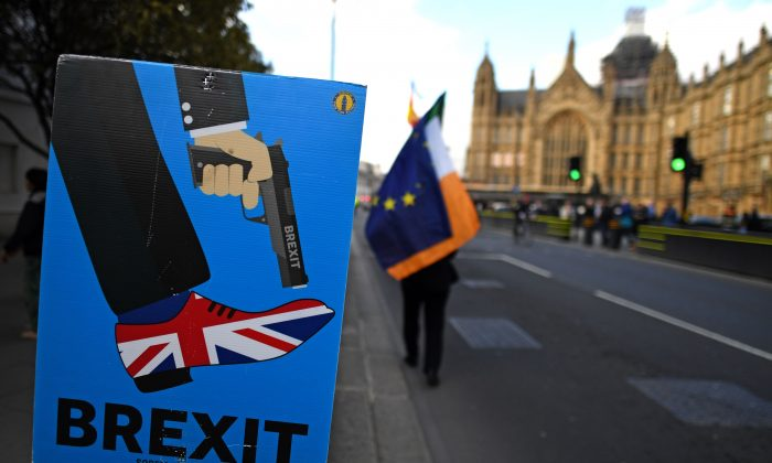 An anti-Brexit activist  demonstrates near the Houses of Parliament in central London on March 27, 2019. (Paul Ellis/AFP/Getty Images)