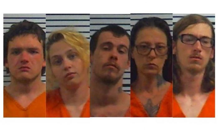 (L-R) Terry Martindale, 20, Kaci Bercham, 19, Steven Sparks, 23, Betty Sparks, 45, and Michael Mayfield, 19, face multiple charges, including murder, in connection with a deadly home invasion in Middleton, Tn., on March 22, 2019. (Hardeman County Jail)
