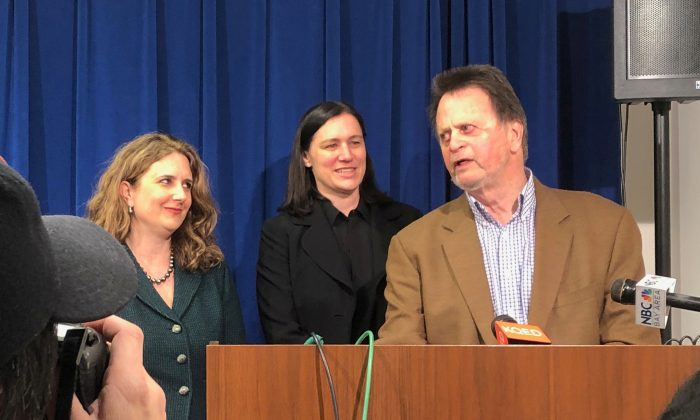 Edwin Hardeman (R), with his attorneys Jennifer Moore (L) and Aimee Wagstaff, speaks to the media, after Bayer AG was found liable for Hardeman's non-Hodgkin's lymphoma arising from his use of the company's weed killer Roundup, at the Federal court in San Francisco, California, U.S., March 27, 2019.  REUTERS/Alexandria Sage