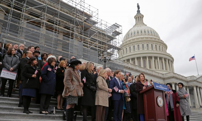 Speaker of the House Nancy Pelosi (D-CA) address a rally with fellow Democrats before voting on H.R. 1, or the We The People Act, on the East Steps of the U.S. Capitol March 08, 2019 in Washington, DC. Chip Somodevilla/Getty Images