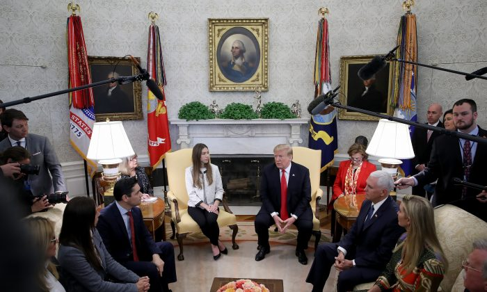 President Donald Trump and Vice President Mike Pence meet with Fabianan, Rosales, the wife of Venezuelan interim president Juan Guaido, in Washington 