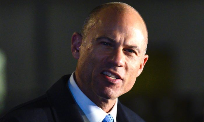 Attorney Michael Avenatti speaks to the press after leaving the federal court house in Manhattan, on March 25, 2019. (Johannes Eisele/AFP/Getty Images)