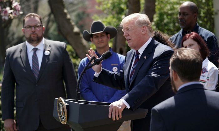 U.S. President Donald Trump speaks during a Rose Garden event at the White House in Washington, on April 12, 2018. President Trump gave remarks on tax cuts for American workers.  (Alex Wong/Getty Images)