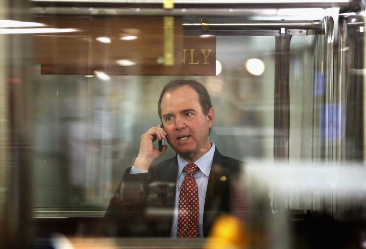 Rep. Adam Schiff talks on his phone