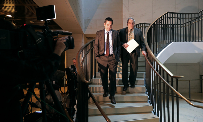 House Intelligence Committee ranking member Rep. Devin Nunes (R-Calif.) (L)  arrives for a closed-door hearing with Michael Cohen, former attorney and fixer for President Donald Trump, in the basement of the House Visitors Center at the U.S. Capitol, on March 6, 2019, in Washington. (Chip Somodevilla/Getty Images)