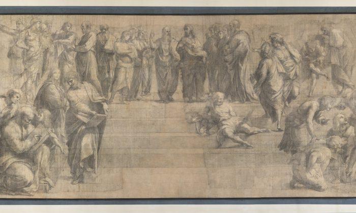 """""""School of Athens,"""" by Raphael (Raffaello Sanzio). Cardboard, charcoal and white lead. 285 × 804 cm. In the  Ambrosiana Gallery since 1610. (Venerable Ambrosiana Library, Mondadori Portfolio)"""