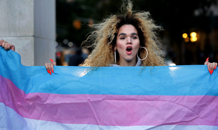 A person holds up a transgender flag at Washington Square Park in New York City on Oct. 21, 2018. (Yana Paskova/Getty Images)