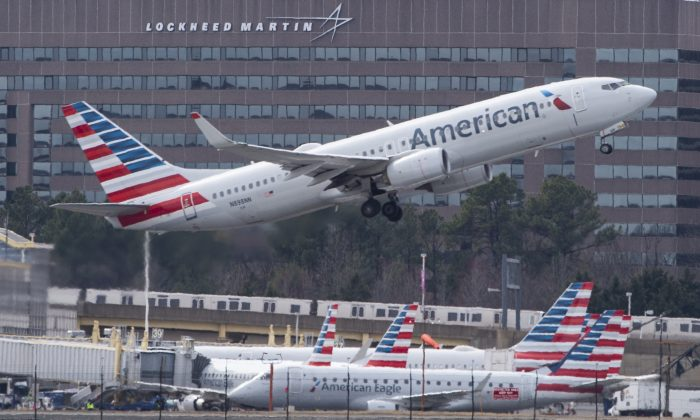 An American Airlines; plane is taking off from Ronald Reagan Washington National Airport on March 11, 2019. (Andrew Caballero-Reynolds/AFP)