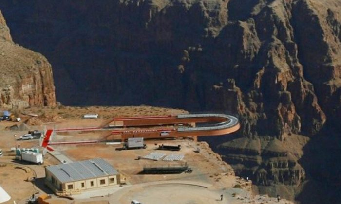 The Skywalk hangs over the Grand Canyon on the Hualapai Indian Reservation before its grand opening ceremony at Grand Canyon West, Ariz., on March 20, 2007. (Ross D. Franklin/AP Photo)