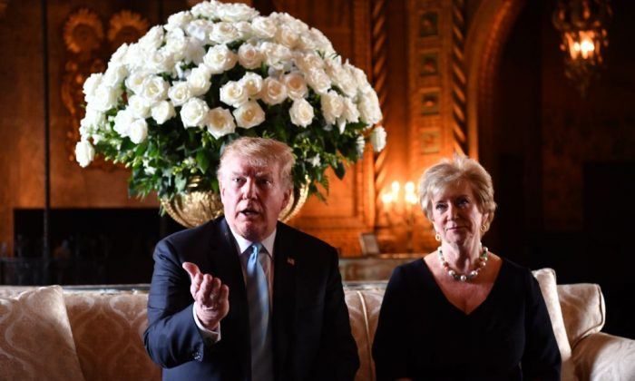 U.S. President Donald Trump speaks at a press conference with Linda McMahon, head of the Small Business Administration, at Trump's Mar-a-Lago estate in Palm Beach, Florida on March 29, 2019. (NICHOLAS KAMM/AFP/Getty Images)
