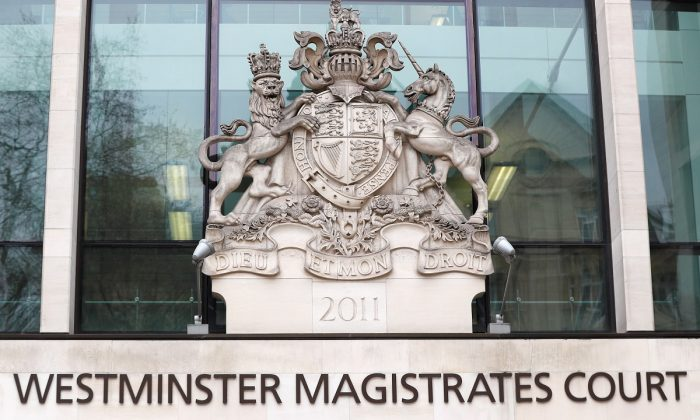 A facade of the Westminster Magistrates court is seen in detail, in London, Britain,on March 20, 2019. (Peter Nicholls/Reuters)