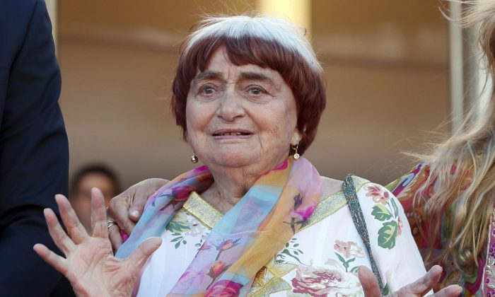 "Filmmake Agnes Varda appears at the screening of the film ""Visages, Villages,"" at the 70th international film festival in Cannes, France, on May 19, 2017. (Thibault Camus/AP photo)"