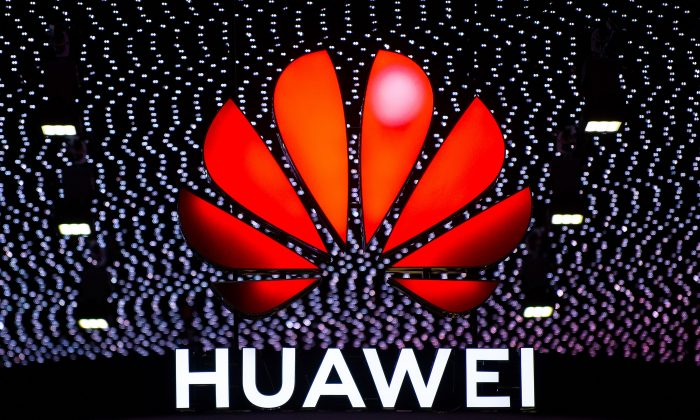A logo outside the Huawei booth at the GSMA Mobile World Congress 2019 in Barcelona, Spain on Feb. 26, 2019. (David Ramos/Getty Images)