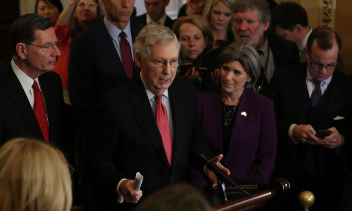Senate Majority Leader Mitch McConnell (R-KY) speaks after the weekly Republican policy luncheon at the U.S. Capitol March 26, 2019 in Washington. (Mark Wilson/Getty Images)