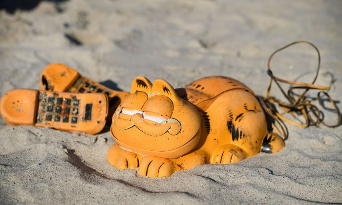 Novelty plastic 'Garfield' phones washed-up on the beach in Plouarzel, France, on March 28, 2019. (Fred Tanneau/AFP/Getty Images)