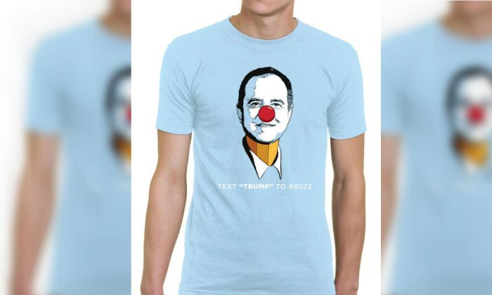 "Trump 2020 presidential campaign is now selling  ""Pencil-Neck Adam Schiff"" T-shirts. (Trump Make America Great Again Committee)"