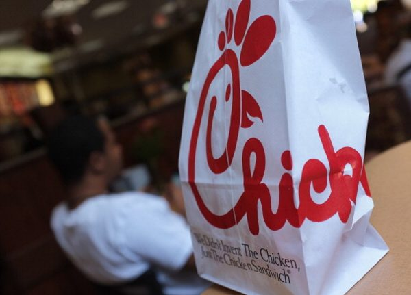 A Chick-fil-A logo is seen on a take out bag at one of its restaurants in Bethesda