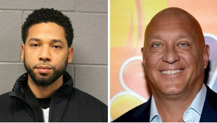 "Jussie Smollett (Left),the ""Empire"" actor turned himself in early to face a charge of making a false police report when he said he was attacked in downtown Chicago by two men who hurled racist and anti-gay slurs and looped a rope around his neck. on Feb. 21, 2019 .(Chicago Police Department via AP)