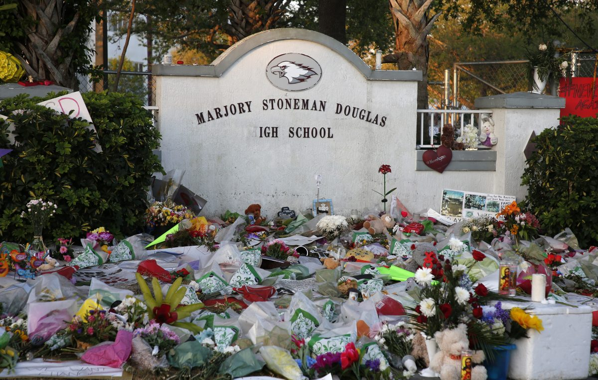 makeshift memorials at in Parkland, Florida