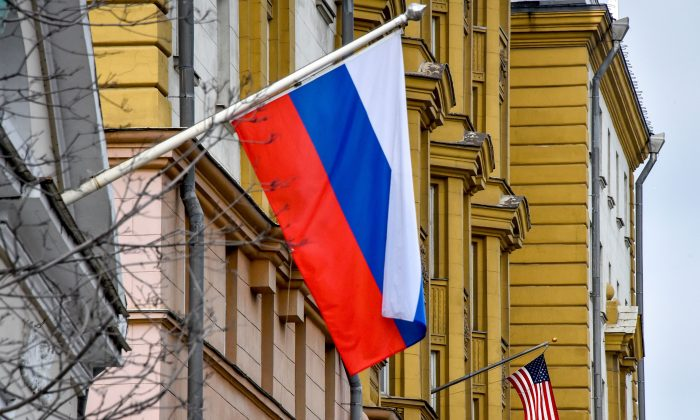 US national flag waves on the building of the embassy of the United States of America (R) in Moscow on April 2, 2018. (VASILY MAXIMOV/AFP/Getty Images)