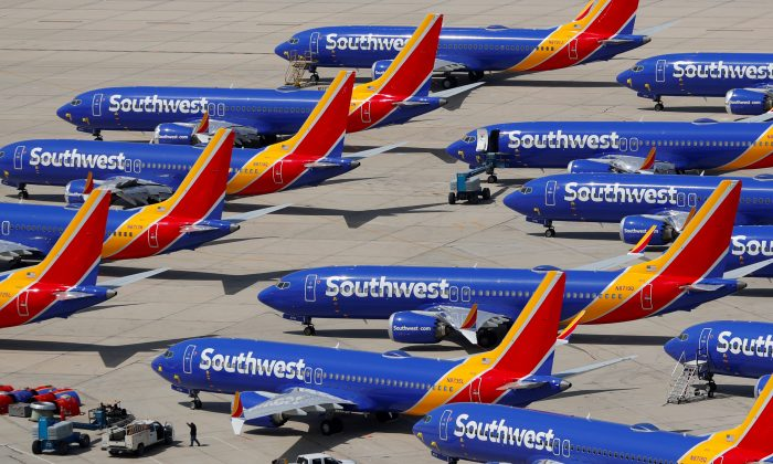 A number of grounded Southwest Airlines Boeing 737 MAX 8 aircraft are shown parked at Victorville Airport in Victorville, Calif., on March 26, 2019. (Mike Blake/Reuters)