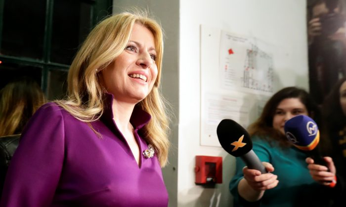 Slovakia's presidential candidate Zuzana Caputova in Bratislava, Slovakia, March 30, 2019. (David W Cerny/Reuters)
