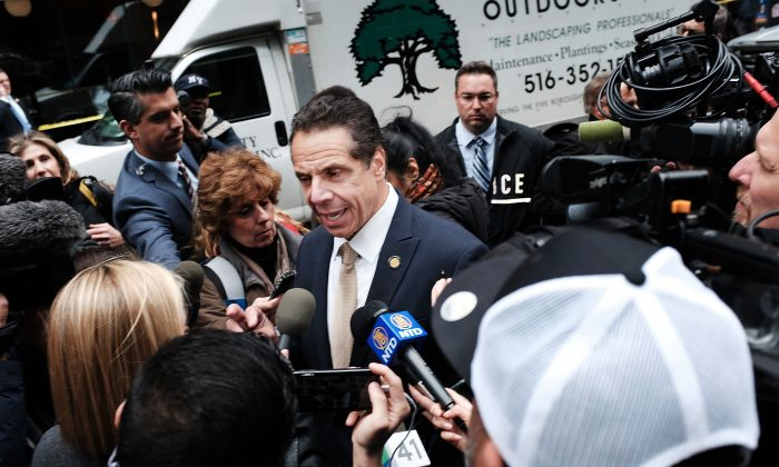 Governor of New York Andrew Cuomo speaks to the media at the Time Warner Center after an explosive device was found there this morning on Oct. 24, 2018 in New York City.  (Spencer Platt/Getty Images)