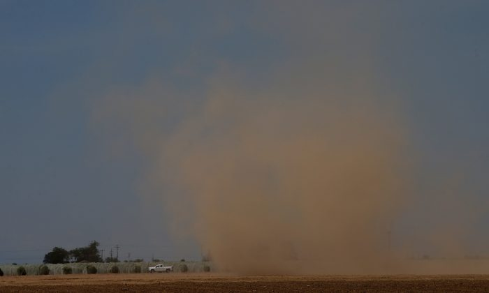 MADERA, CA - APRIL 24:  A dust devil kicks up dirt as it forms over an empty field on April 24, 2015 in Madera, California. As California enters its fourth year of severe drought, farmers in the Central Valley are struggling to keep crops watered as wells run dry and government water allocations have been reduced or terminated. Many have opted to leave acres of their fields fallow.  (Photo by Justin Sullivan/Getty Images)