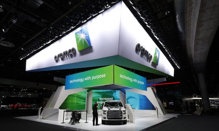 The Aramco exhibit is shown at the 2018 North American International Auto Show in Detroit, Mich. on Jan. 16, 2018. (Bill Pugliano/Getty Images)