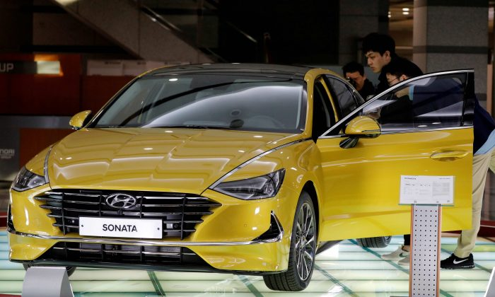 FILE PHOTO: A Hyundai Motors' all-new Sonata sedan is seen on display at the company's headquarters in Seoul, South Korea, March 22, 2019.     REUTERS/Kim Hong-Ji/File Photo