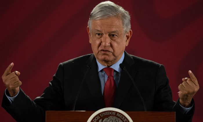 Mexican President Andrés Manuel López Obrador gestures during his daily morning press conference at the National Palace in Mexico City on March 26, 2019. (Pedro Pardo/AFP/Getty Images)