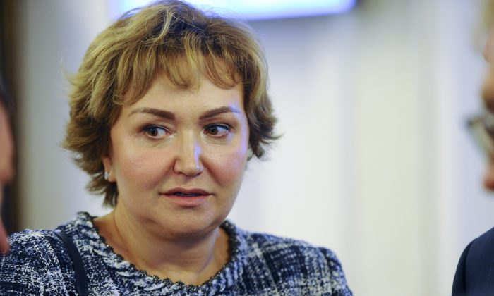 S7 Group co-owner Natalia Fileva attends a meeting in Novosibirsk, Russia. Fileva, one of Russia's richest women, died in a small plane crash in Germany on March 31, 2019. (Valery Titievsky/Kommersant Photo via AP)