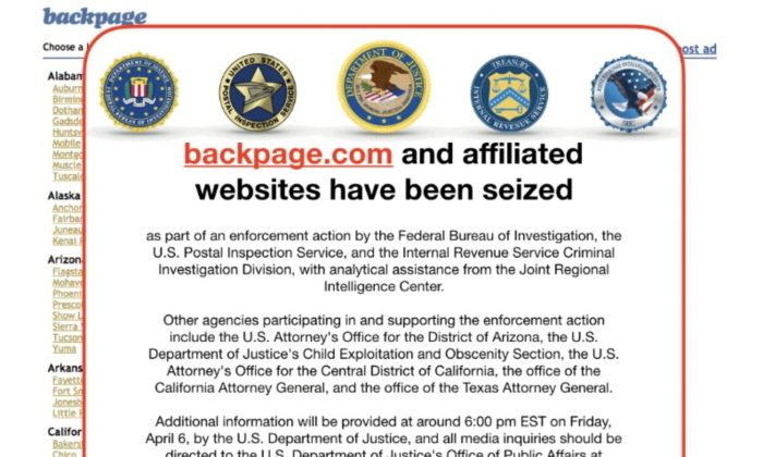 An image of the current home page of the website backpage.com shows logos of U.S. law enforcement agencies after they seized the sex marketplace site April 6, 2018. (backpage.com via Reuters)