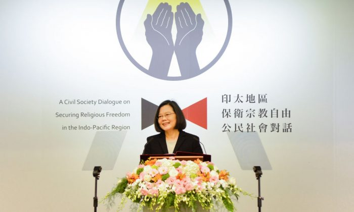 Taiwanese President Tsai Ing-wen speaks during the Indo-Pacific forum on religious freedom in Taipei on March 11, 2019. (Chris Stowers/AFP/Getty Images)